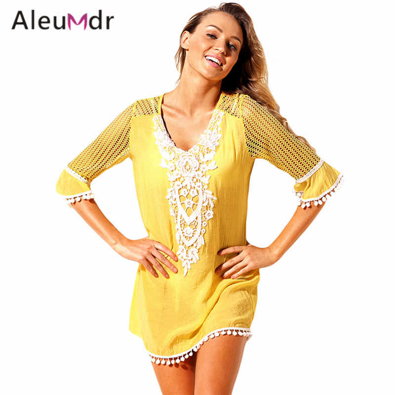 8d043460125 Aleumdr Women Summer Swimwear black Beach Wear Crochet bathing suit Swim  suit Swimwear LC42231 summer hot sale Cover Ups dress