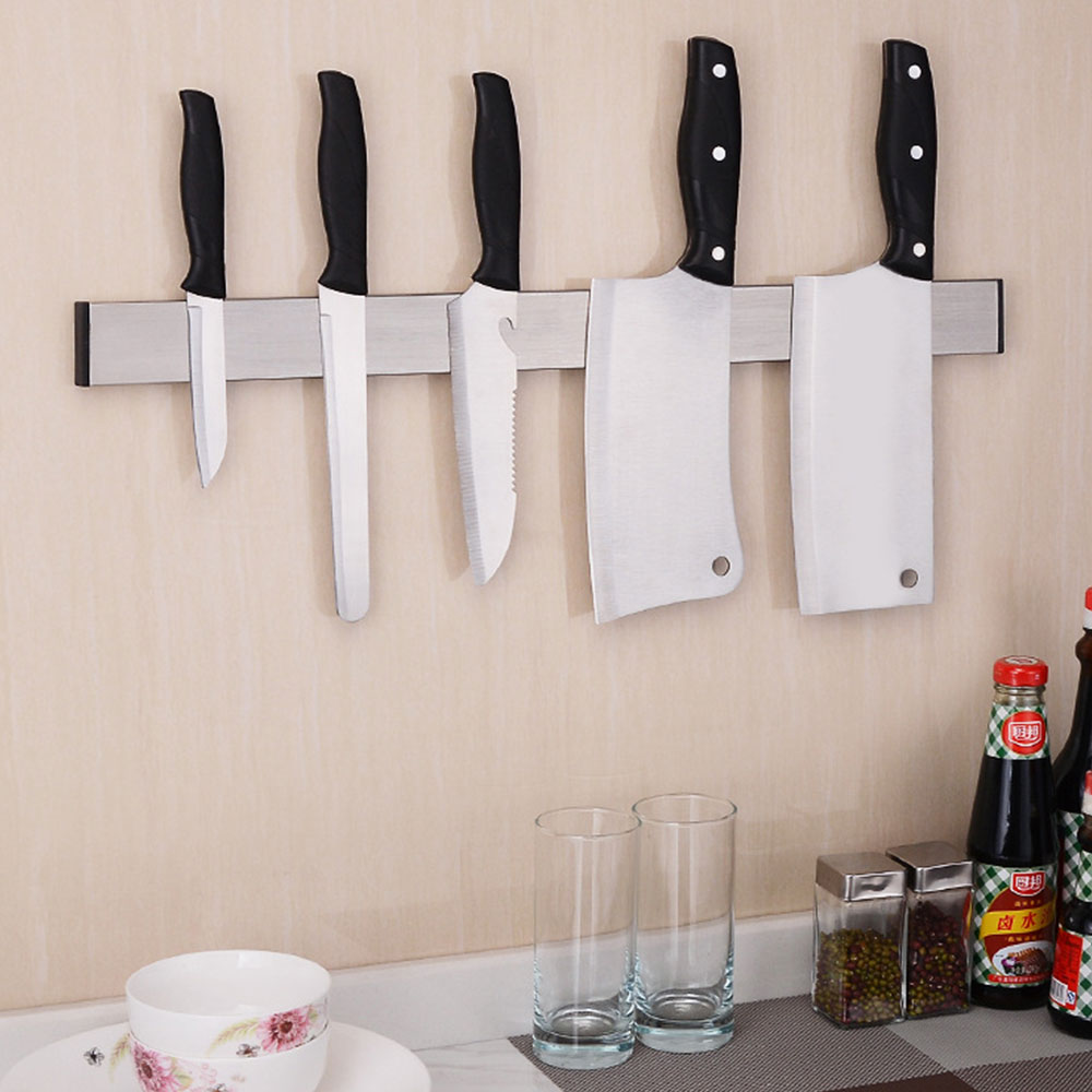 Magnetic Kitchen Tools Accessories Knife Holder Bar Wall Mount ABS Metal Knife Stand For Block Magnet Knives Organizer
