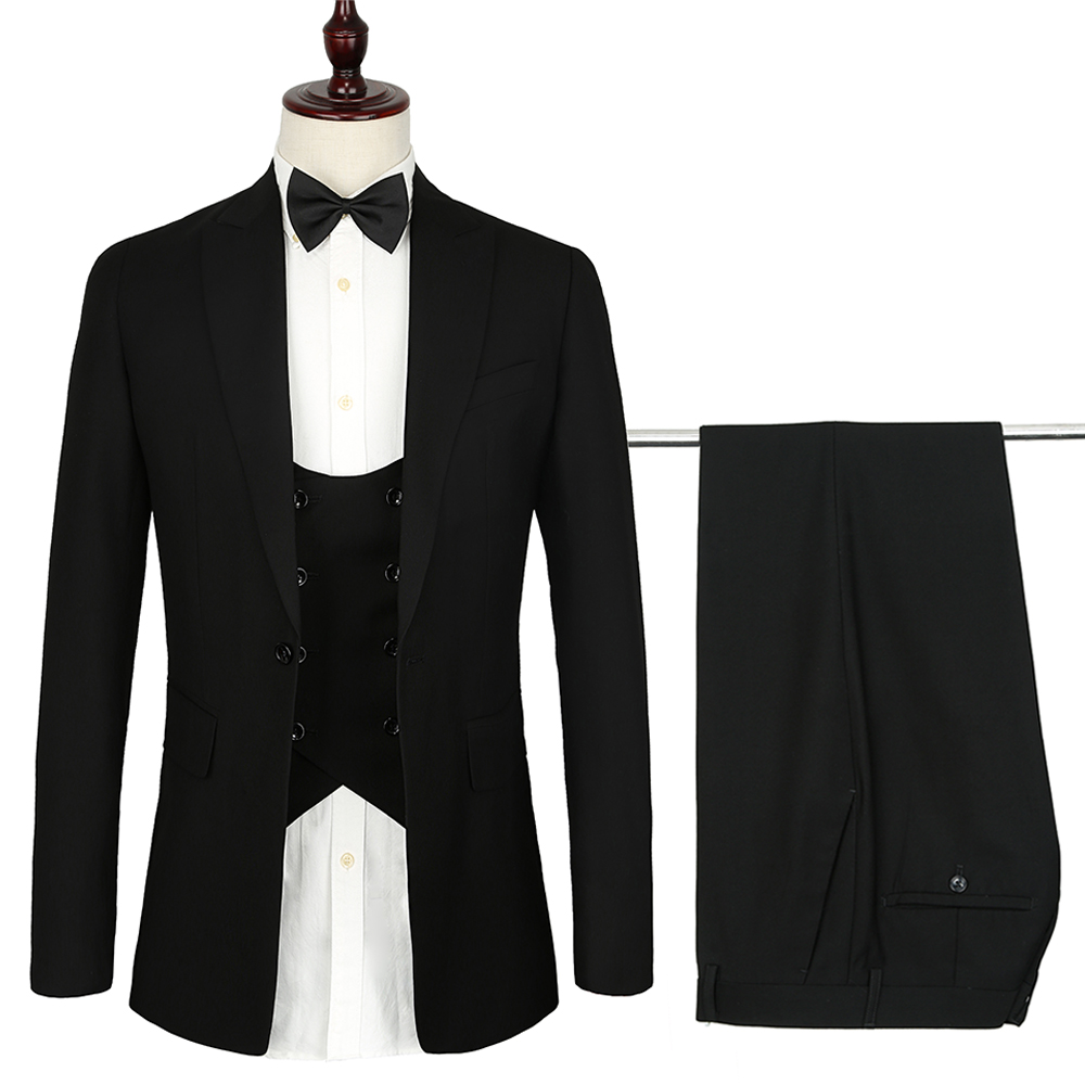2018 French Design Mens Suits 3 Piece Euro Size Formal Skinny Black Wedding Suit For Men Tuxedo Gentle Modern Blazer Sets