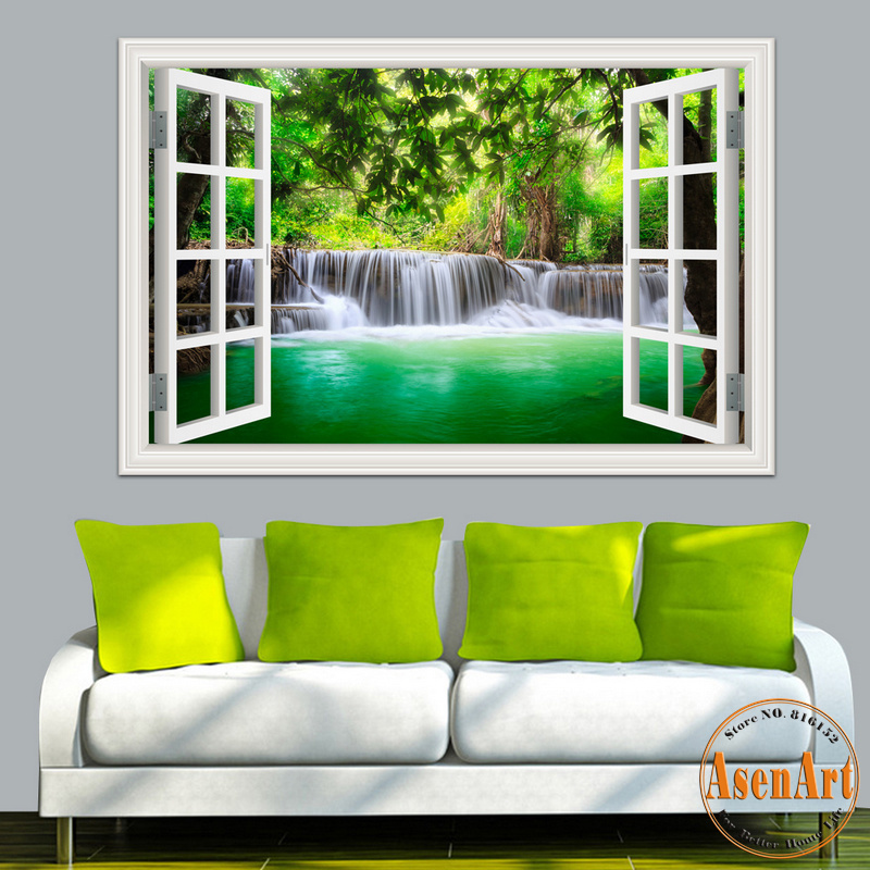 Aliexpress.com : Buy 3D Wall Sticker Home Decal Waterfall 3D Window View Wallpaper  Nature Landscape Wall Decals For Living Room Home Decor Wall Art From ... Part 44