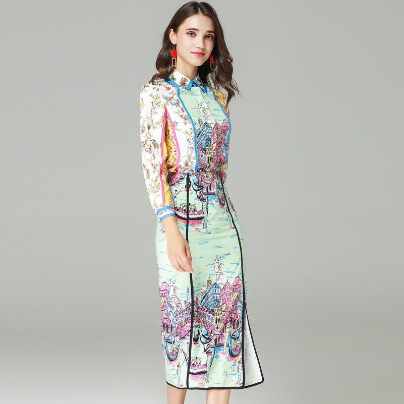 คุณภาพสูงแฟชั่นรันเวย์ชุดสตรีแขนยาวคริสตัลเสื้อและพิมพ์ Mid   Calf Bodycon กระโปรงสบายๆชุด-ใน ชุดสตรี จาก เสื้อผ้าสตรี บน   2