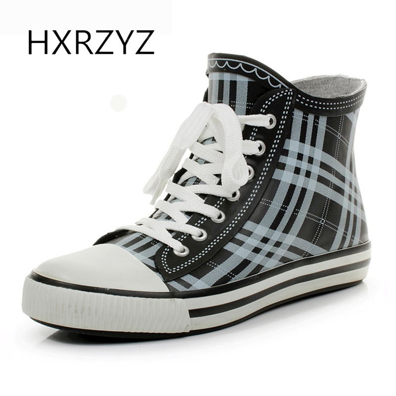 HXRZYZ women rubber boots lace up ankle rain boots spring and autumn new fashion ladies slip-resistant  waterproof stripe shoes  water shoes spring and autumn woman warm rain shoes and ankle rain boots lady waterproof fashion rubber boots