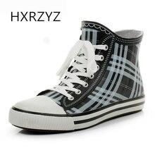 Женские резиновые сапоги HXRZYZ зашнуруют ботинки дождя на лодыжку весной и осенью новые модные женские дамские противоскользящие водонепроницаемые ботинки