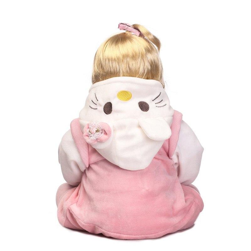 22 bebe meisje reborn poppen zachte siliconen reborn baby poppen voor kinderen gift blond haar pruik met kat pluche pop magnetische fopspeen b - 5
