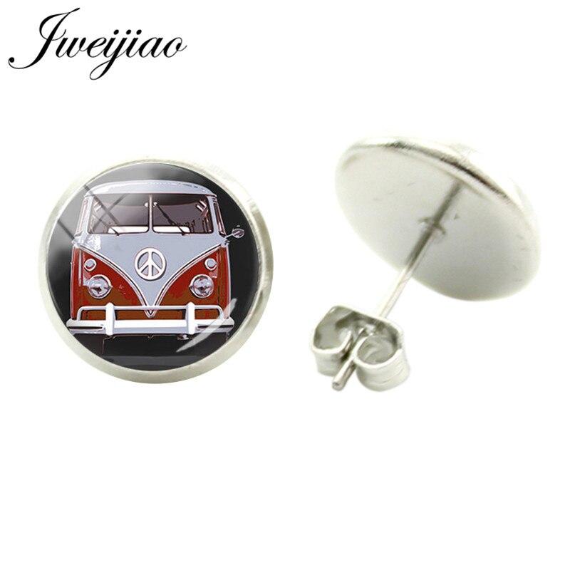 JWEIJIAO Vintage Hippie Peace Sign Van Bus Earrings Handmade Glass Gem Cabochon Dome Stud Earrings Jewelry CT93(China)