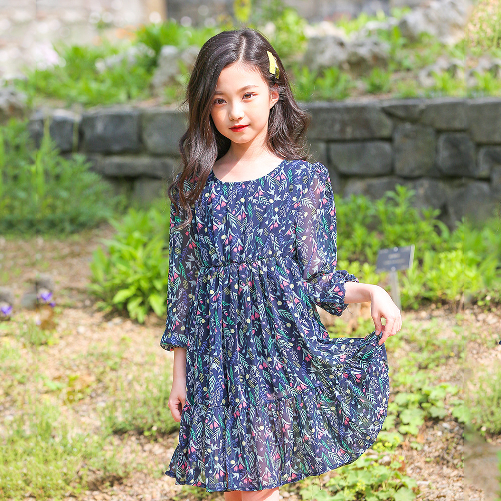 2018 Kids Girls Dress Autumn Spring Teenage Girls Dresses Child Clothes Girl Chiffon -6740