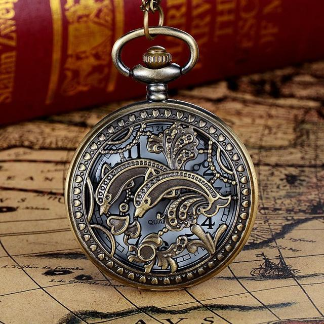 #5001 Leisure Fashion Woman Watch Vintage Bronze Tone Spider Web Design Chain Pendant Men's Pocket Watch Gift