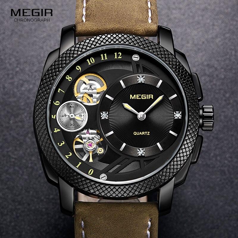 MEGIR Smart Quartz montres pour hommes mode décontracté analogique étanche montre-bracelet avec mouvement mécanique décoratif 2091 BKBN