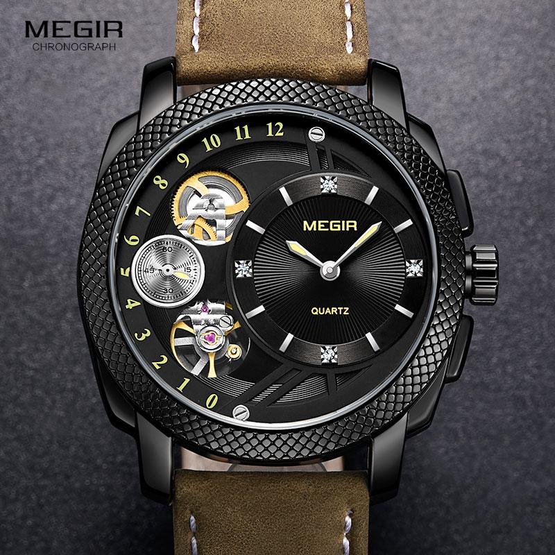 MEGIR Smart Quartz Watches for Men Fashion Casual Analogue Waterproof Wristwatch with Decorative Mechanical Movement 2091BKBN