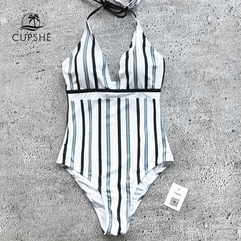 69b28af75b002 ... CUPSHE Iceandsnow Love Stripe One-piece Swimsuit Deep V neck Summer Sexy  Backless Monokini Ladies ...