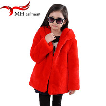 Children Whole Rex Rabbit Fur Coat Autumn Winter Warm Baby Kids Long Section Outerwear Coat Girls Solid Full hooded Clothing C#2