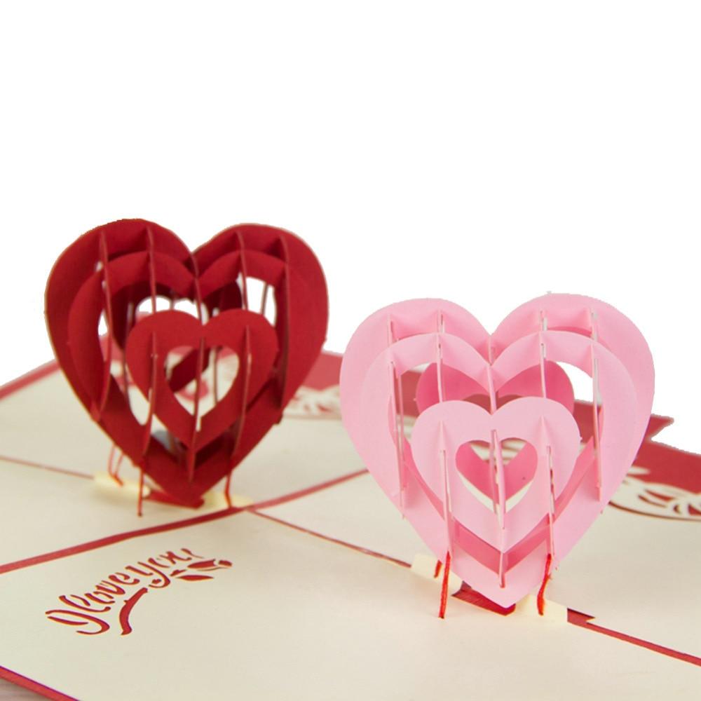 I Love You Red Heart Design Handmade Creative Kirigami  Origami