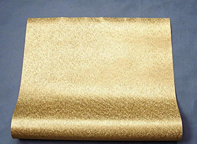 HaokHome Modern Metallic Wallpaper Rolls Gold 3D Solid Color Vinyl Contact paper Home Bedroom Living Room Household Wall Decor haokhome modern luxury heavy texture victorian damask wallpaper black gold brown silver 3d living room bedroom home art decor
