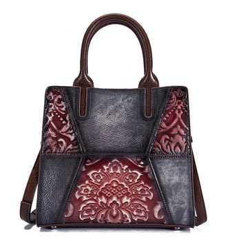 Retro Cowhide Top Handle Cross Body Bag Briefcase Tote Handbag Luxury Genuine Embossed Leather Women Messenger Shoulder Bag - DISCOUNT ITEM  32% OFF All Category