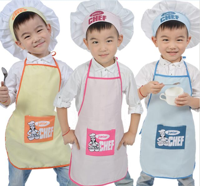 buy junior chef polyester kids apron and chef hat child cooking baby apron. Black Bedroom Furniture Sets. Home Design Ideas