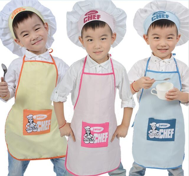 Junior Chef Polyester Kids Apron and Chef Hat Child Cooking Baby Apron Avental de Cozinha Divertido Pinafore Apron