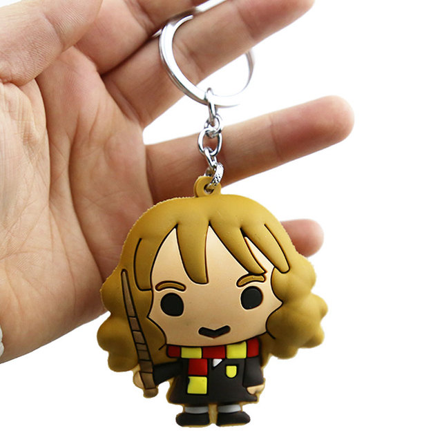 3D Harry Potter PVC Keychain Toy Dobby Hermione Granger Malfoy Ron Weasley Snape Action Figure Toys Party Cosplay PVC Key Ring 2