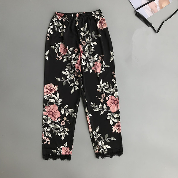 Women\\\'S Home Pants Pyjama Bottoms Women Sleeping Pajamas Lounge Wear Spring Summer Black/Pink Print Pyjama Trousers