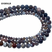 Free Shipping Natural Stone Botswana Sardonyx Agates Round Loose Beads For Jewelry Making DIY Bracelet Necklace 6 8 10 MM