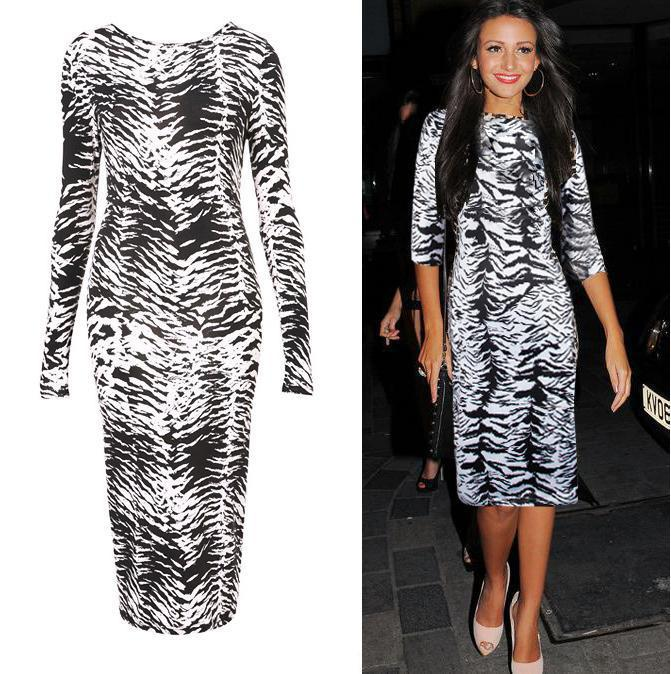 aliexpress selling women's new package hip slim white leopard print dress temperament pencil skirt