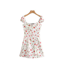 Printed Flower Dress Slash Neck Wild Womens Casual Summer Slim Knee-Length Fashion Beach Off the Shoulder Dresses