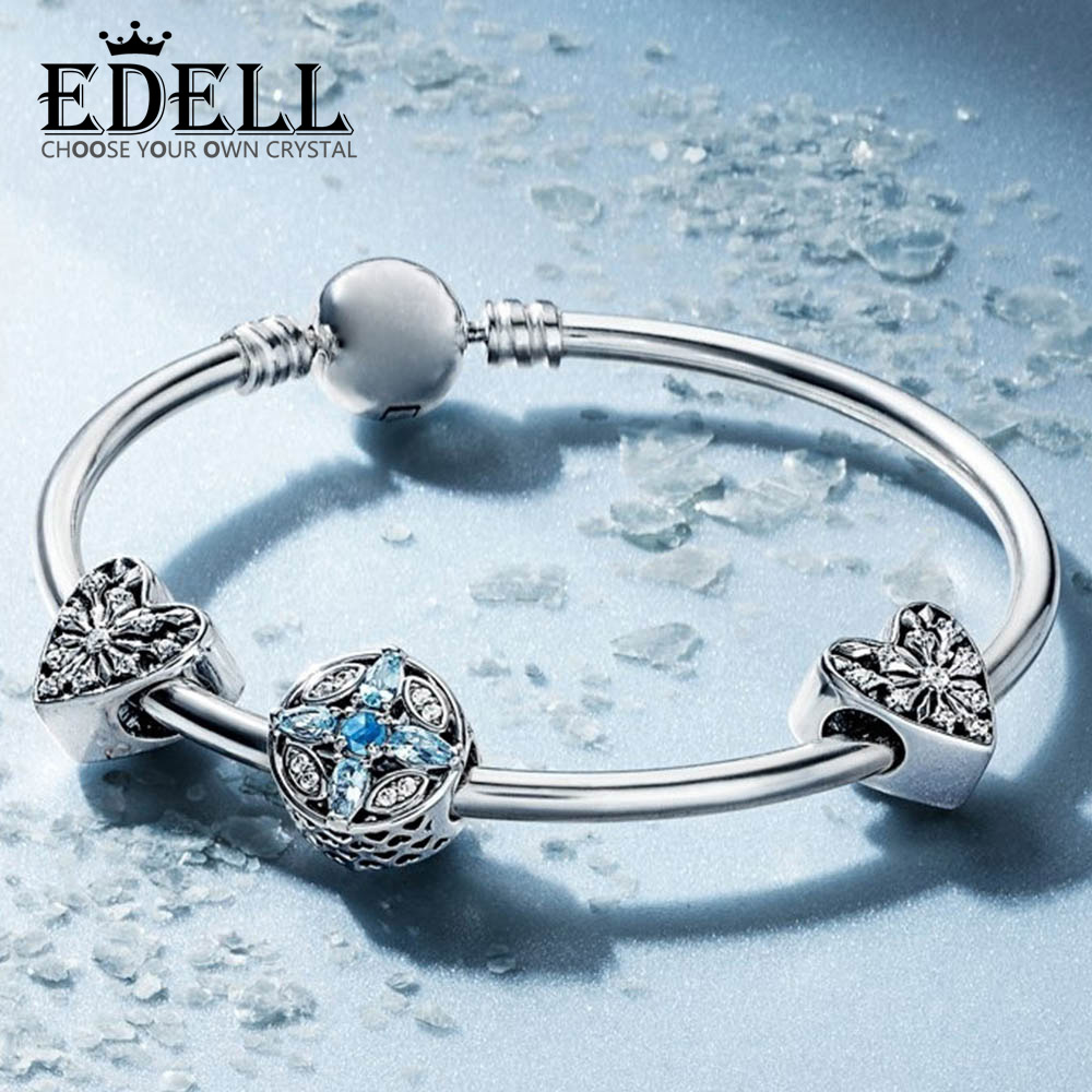 EDELL 100% 925 Sterling Silver 1:1 Winter Moments Charm Frosted Heart Beads Bracelet Bangle Ice Crystal Fashion Gift SetEDELL 100% 925 Sterling Silver 1:1 Winter Moments Charm Frosted Heart Beads Bracelet Bangle Ice Crystal Fashion Gift Set