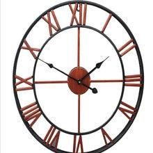 Oversized 3D Iron Decorative Wall Clock Retro Big Art Gear Roman Numerals Design The Clock On