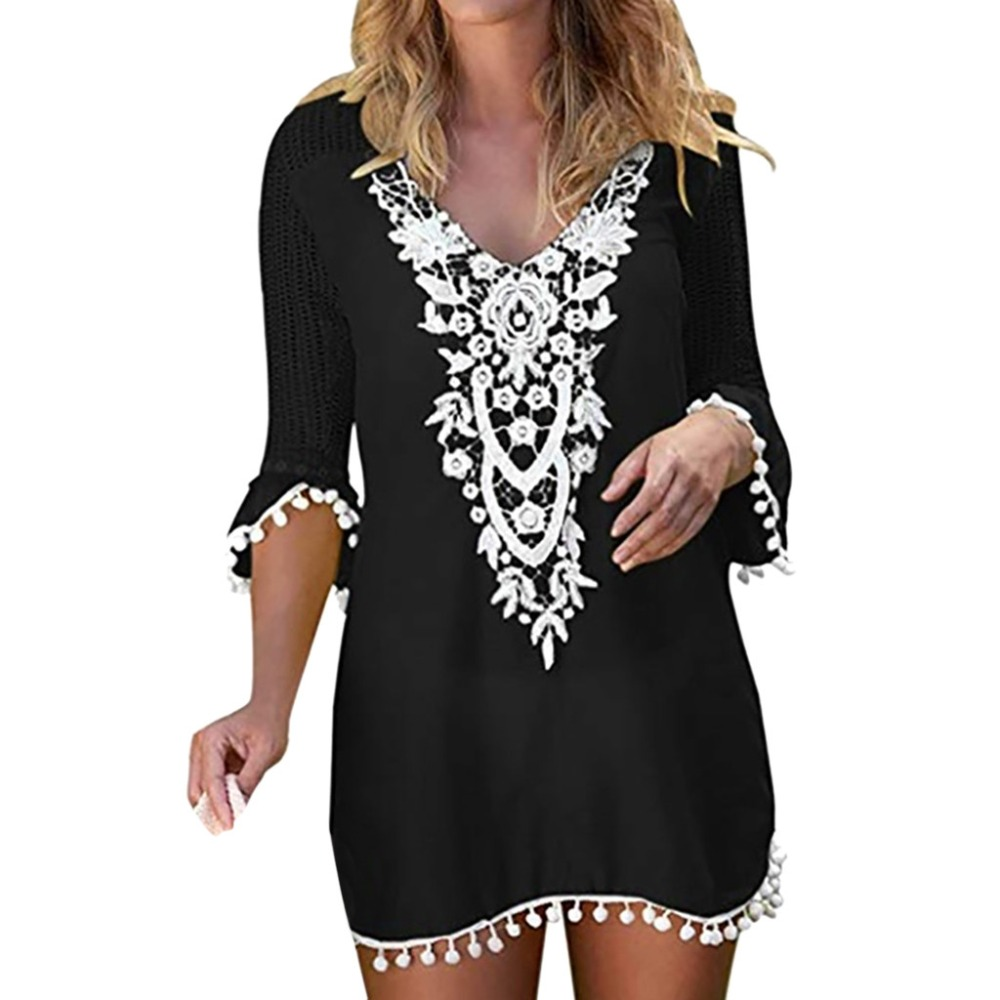 Women Cotton Loose Pom Pom Trim Tassel Lace Crochet Swimwear Beach Cover Up Casual Tops V Neck Sexy Patchwork Blouse #A