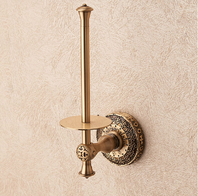 free shipping antique brass standing toilet paper holder wall mount roll paper tissue rackchina