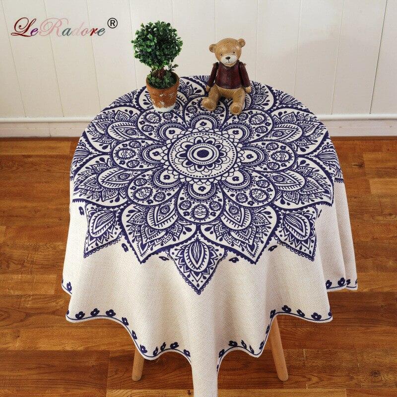 LeRadore Tablecloth Mediterranean Style Cotton Linen Table Cover Rectangular Table Cloth for Outdoor and Home Free Shipping