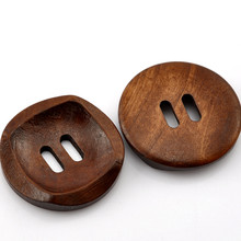 Round Coffee 2 Holes Wood Sewing Buttons 30mm Scrapbook Findings, 20Pcs/lot