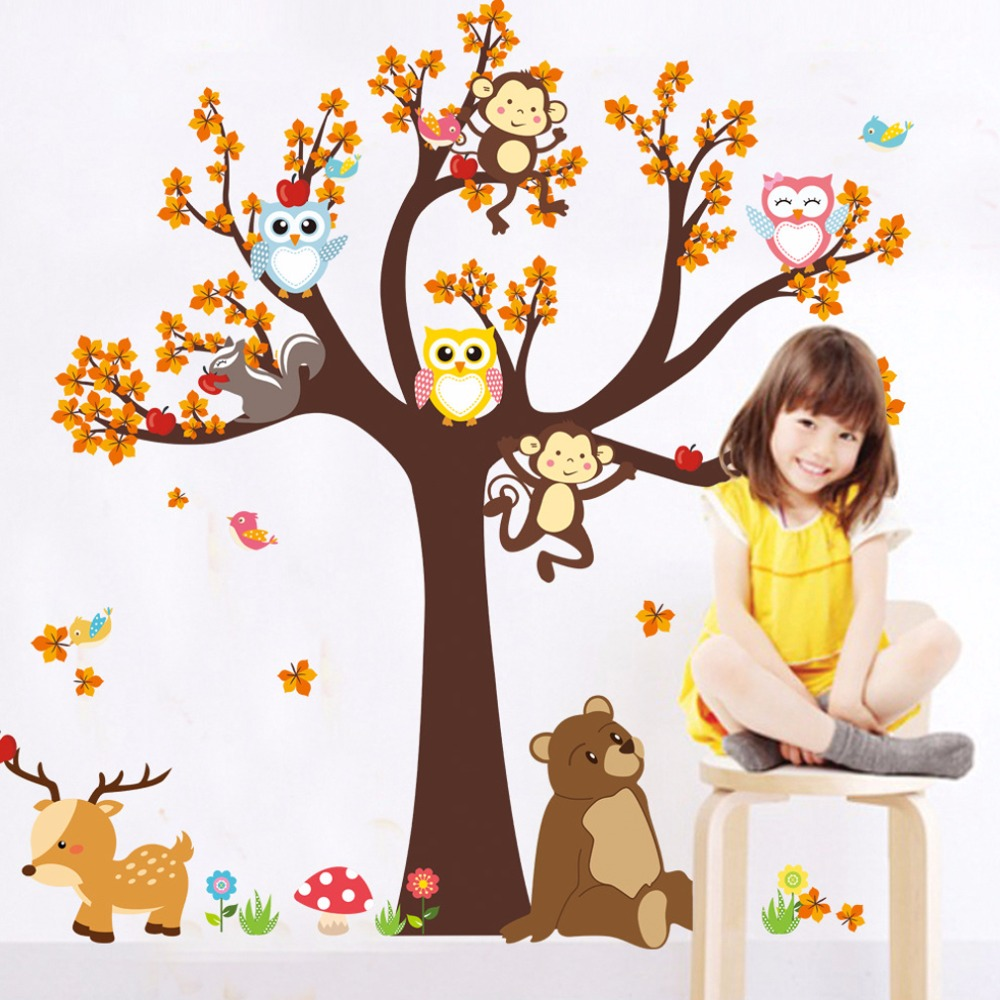 kids playroom decor promotion shop for promotional kids playroom 2017 newest unique forest animal giraffe monkey owls tree wall sticker mural decal kids children playroom room decor mural