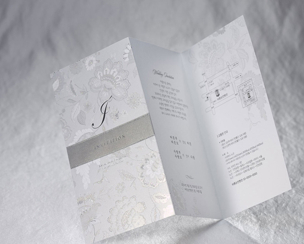 100pcs/lot Silver Wedding Invitations Card with Ribbon Flower ...