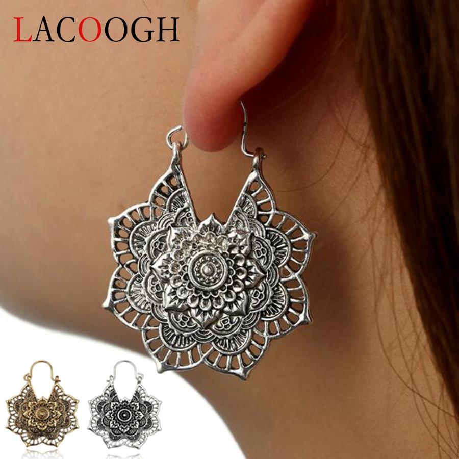 Lacoogh Girls Tribal Floral Hollow Geometric Earrin