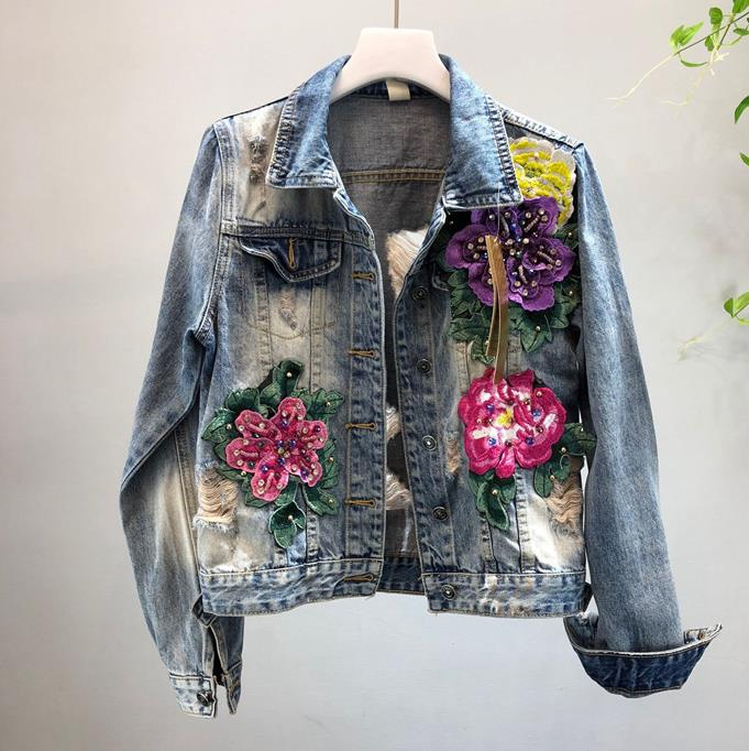 2019 fashion Heavy three-dimensional flowers hole washed denim jacket female long sleeve Jeans jacket basic jacket