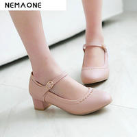 2019 Spring/autumn Women square heel rouned toe Shoes woman work Shoes Ladies mary jane shoes size 33 43