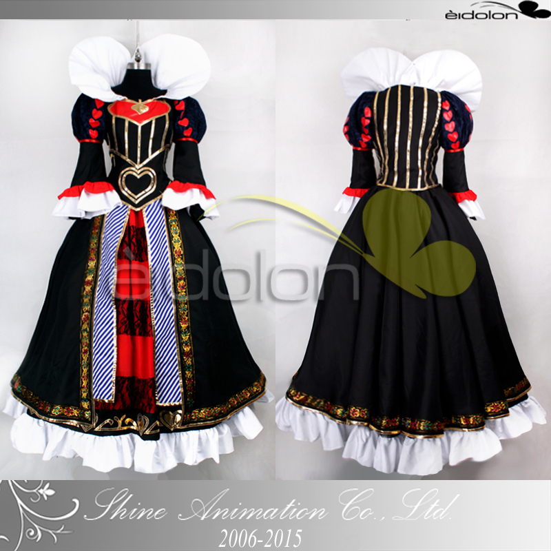 High quality Alice's Adventures in Wonderland Costume The Queen of Hearts Cosplay for women/adult dress for party