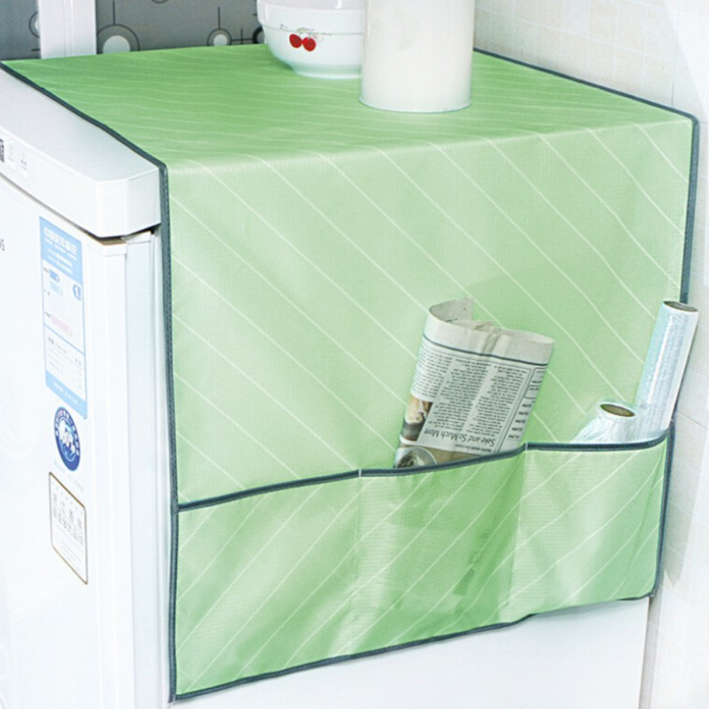 Kitchen Accessories Refrigerator Dust Cover Multi-purpose Waterproof Stripe With Storage Bag Refrigerator Cover for Appliances