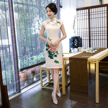 Summer White Peony Print Flower Chinese Women Simple Dress Plus Size 3XL Sexy Qipao Lady Cheongsam