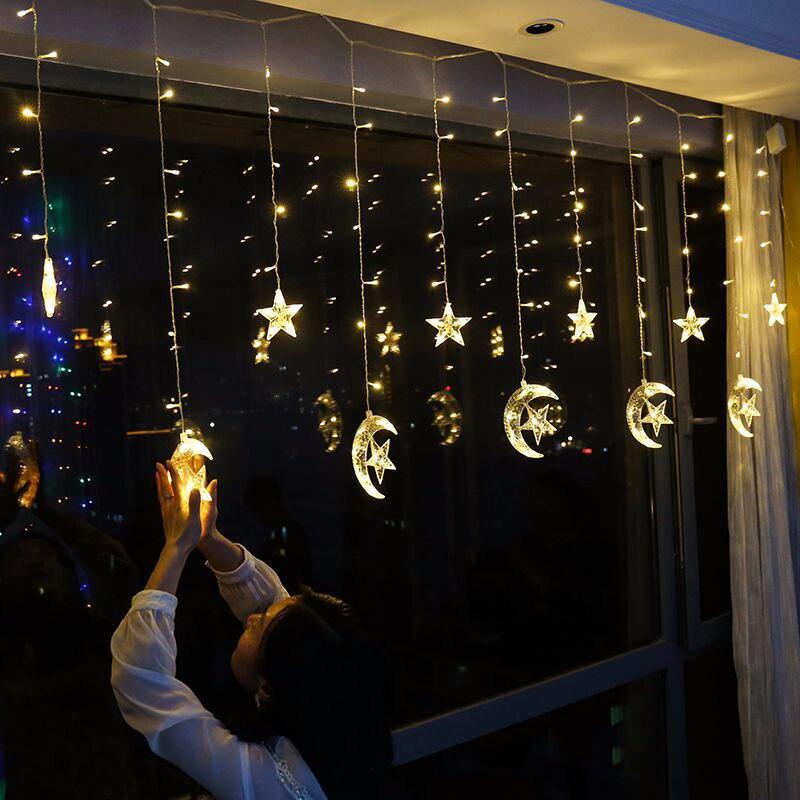Luci Led Casa Prezzo.Offerte 250 Cm Led Star Luna Tende Luci 138 Leds Luce Della