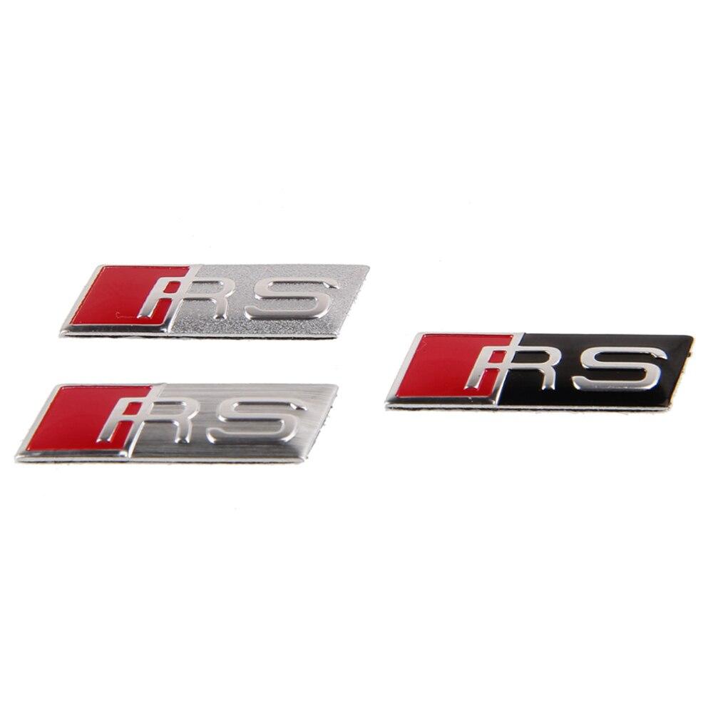 Car Steering Wheel Sticker Emblem RS For Audi RS RS3 RS4 RS5 RSQ Q5 Q7 A4 B6 C5 A3 A5 A6 S5 TT Car Styling Badge Aluminum Decal