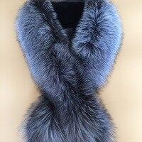 100 Real Fox Fur Collar Natural Fur Shawl Luxury Silver Scarf 130cm Women Real Fox Collars