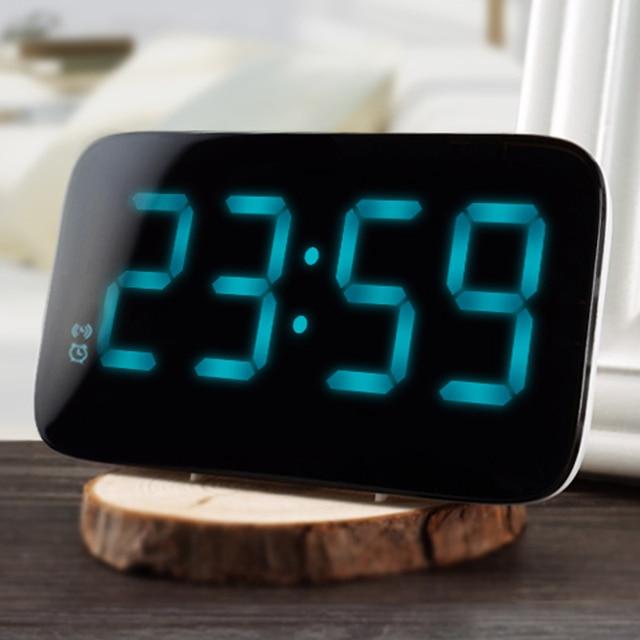 12/24 часов LED Будильник Голос Управление большой светодиодный Дисплей электронные повтора backlinght Desktop Цифровой настольный Часы часы
