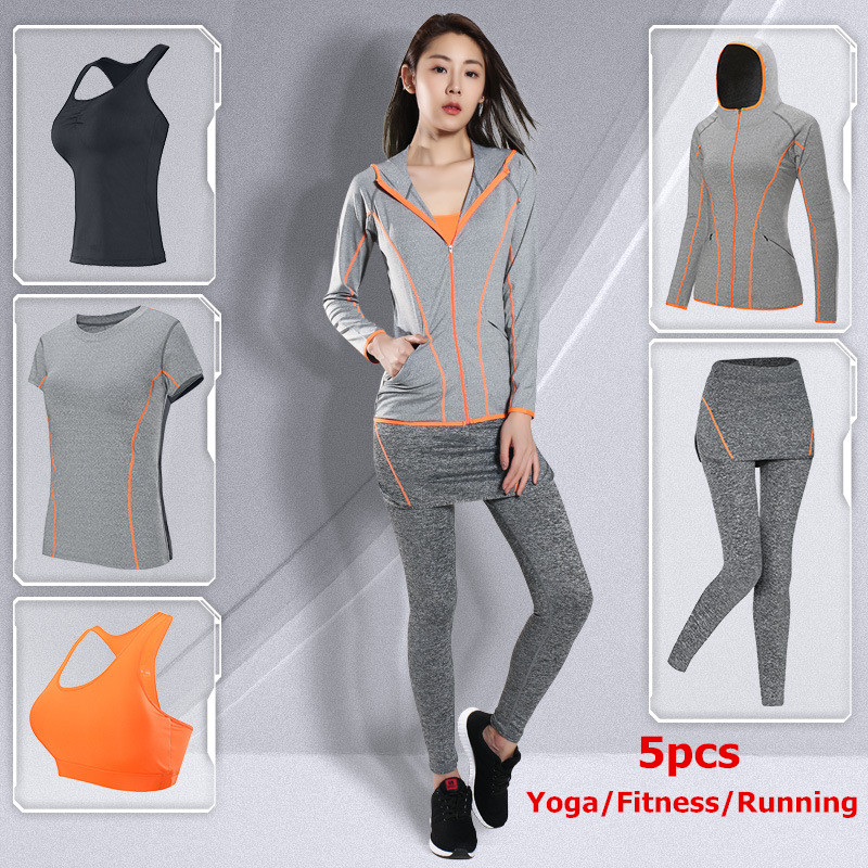 Brand LEFAN 2018 Sport Suits Women Elastic Running Yoga Fitness Sets Female Sportswear Tights Training Sports Clothes Set 4-5pcs