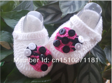 Crochet baby shoes Soft white Ladybug infant knitted first walker shoes 0-12Mpattern baby shoes custom