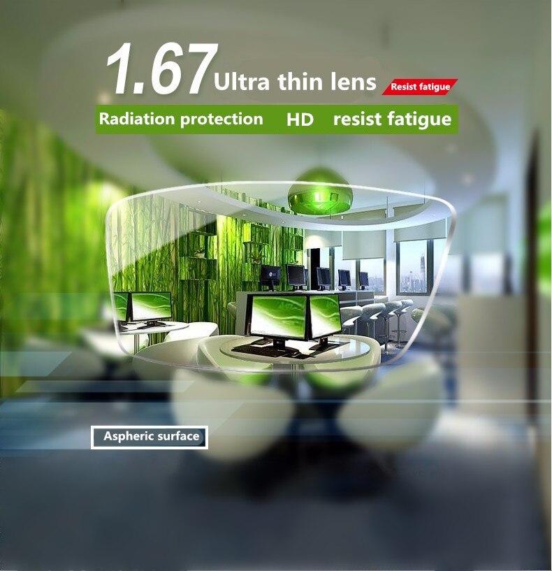 Lentilles de lentille en résine asphérique transparente à indice élevé 1.67 Thiner HMC, lentilles de Prescription asphère pour myopie/hyperopie/presbytie 2 pièces