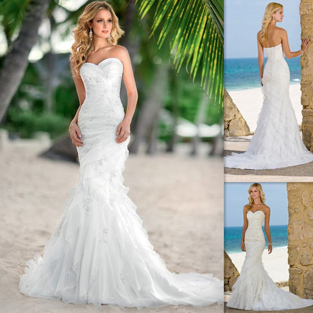 Celebrity Beach Wedding Dresses Sweetheart White Organza Tiered Country Style Bridal Gowns 2015 Custom Made Bride