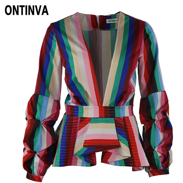 5aebd70d2dd Ladies Rainbow Stripe Peplum Tops Blouses Deep V Neck Ruffles Blusas Plus  Size Women Clothing Fashion