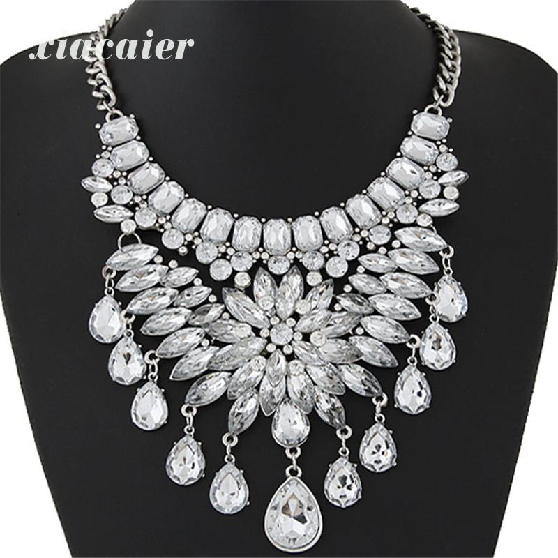 Xiacaier Chokers Necklaces Women Flower Water Drop Resin Alloy Choker Necklaces Collier Femme Jewelry Statement Necklace Gift