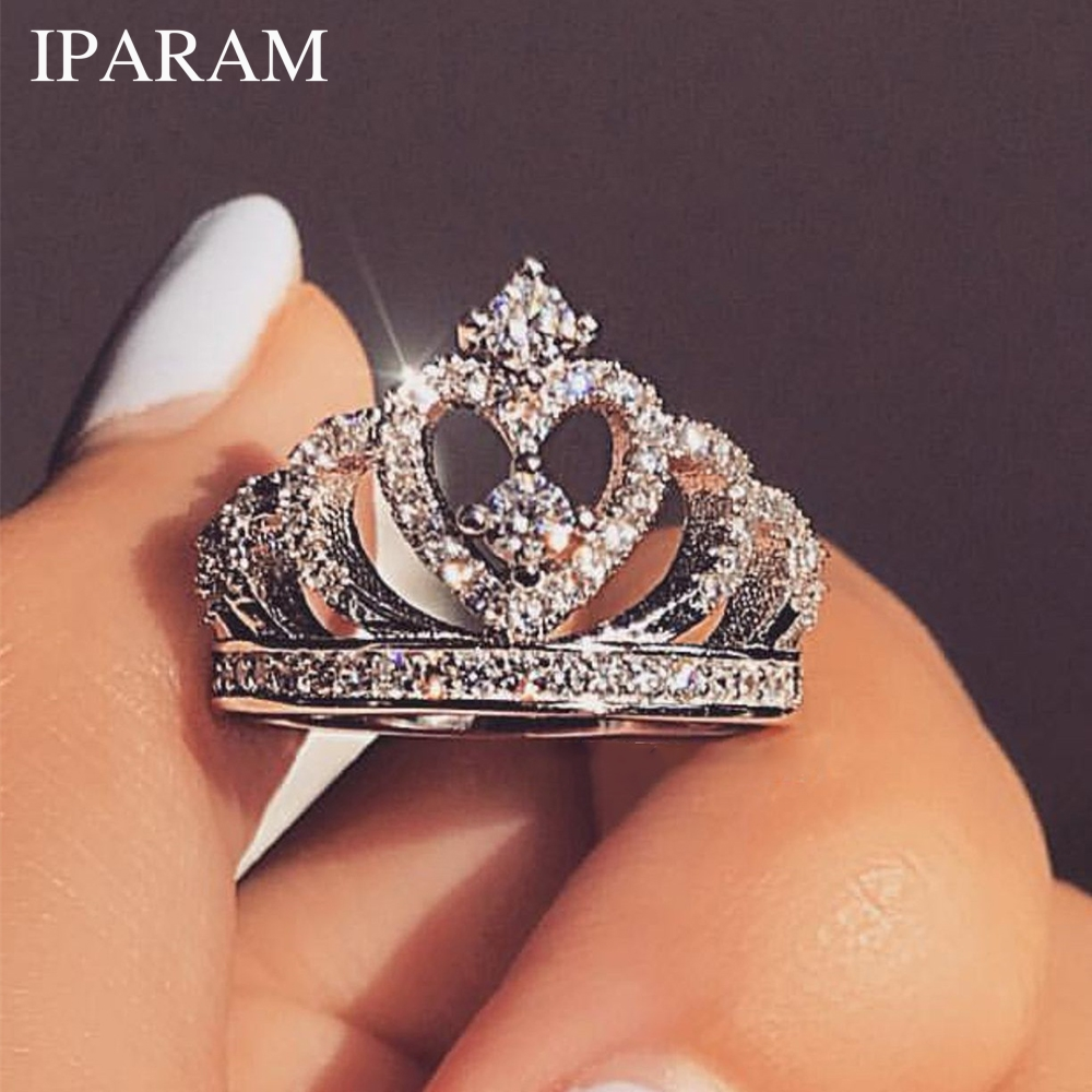 IPARAM Luxury Silver Zirconia Crown Ring Women's Wedding